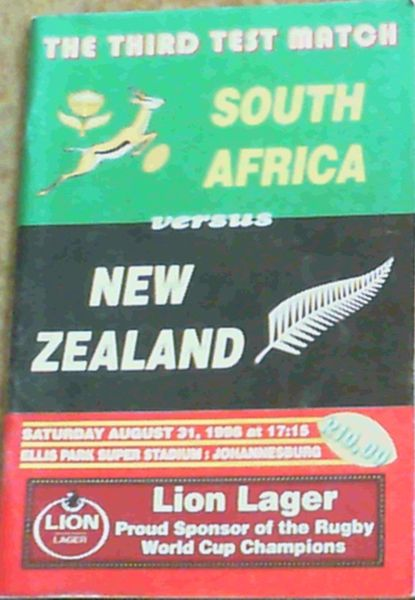 Image for The Third Test Match South Africa versus New Zealand - Saturday August 31, 1996 at 17:15 Ellis Park Super Stadium: Johannesburg (Match Programme)