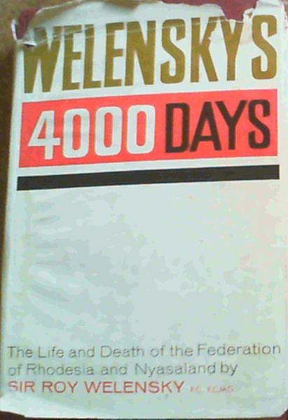 Image for Welensky's 4000 Days