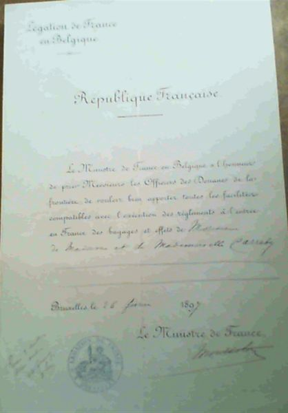 Image for Letter of passage from the French Legation in Brussels, 1897, signed by the ambassador: Marquis of Montholon