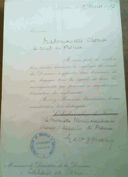 Image for Letter of passage from Embassy of France in London 1897 - signed Geoffray