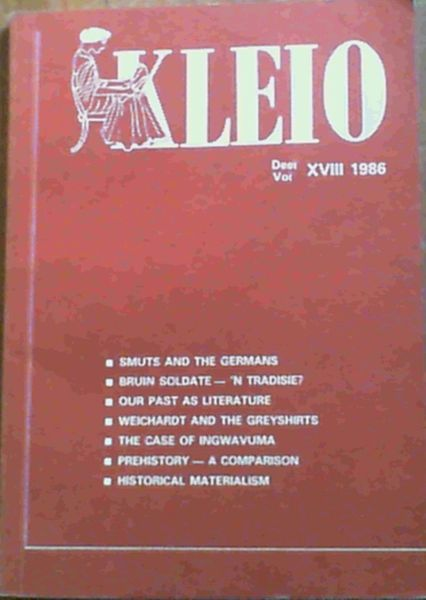 Image for Kleio Vol. XVIII 1986 Journal of the Department of History