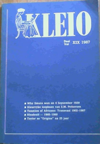 Image for Kleio Vol. XIX 1987 Journal of the Department of History