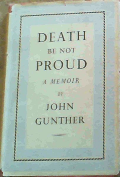 Image for Death Be Not Proud; A Memoir