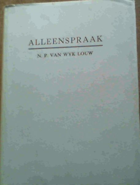 Image for Alleenspraak