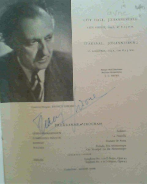 Image for Programme : Johannesburg City Orchestra / Die Johannesburgse Stadsorkes - Franco Ghione Guest Conductor / Besoekende Dirigent : City Hall Johannesburg 12th August 1952, at 8.15 pm / Stadsaal, Johannesburg 12 Augustus, om 8.15 n.m.