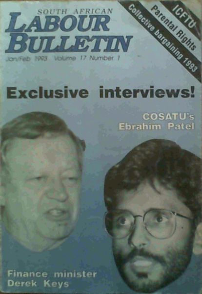 Image for South African Labour Bulletin Jan / Feb 1993 Volume 17 Number 1