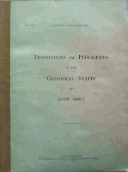 Image for Transactions and Proceedings of the Geological Society of South Africa - January to December 1953