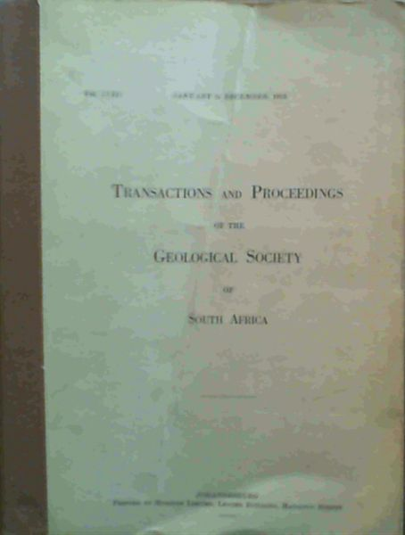Image for Transactions and Proceedings of the Geological Society of South Africa - January to December 1955