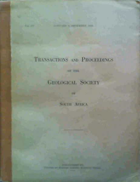 Image for Transactions and Proceedings of the Geological Society of South Africa - January to December 1952