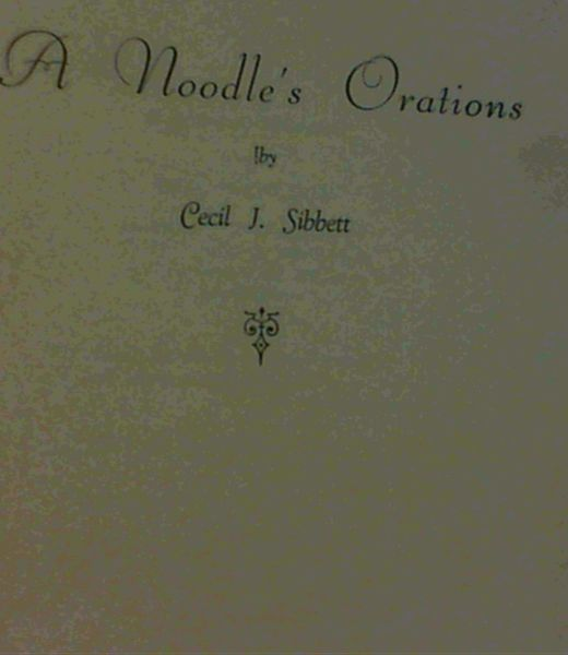 Image for A Noodle's Orations