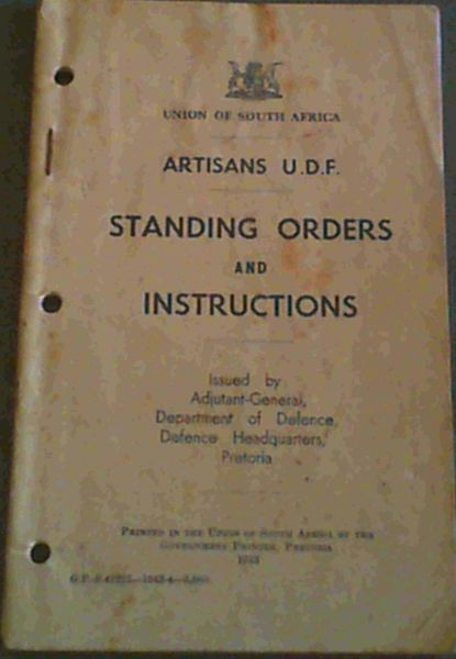 Image for Artisans UDF - Standing Orders and Instructions