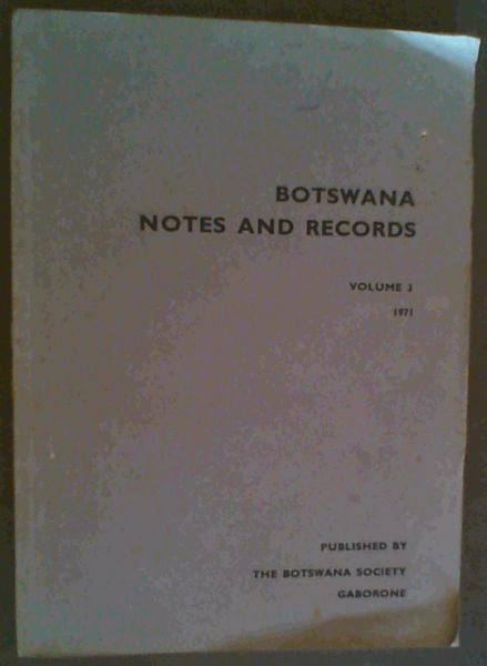 Image for Botswana Notes and Records - volume 3