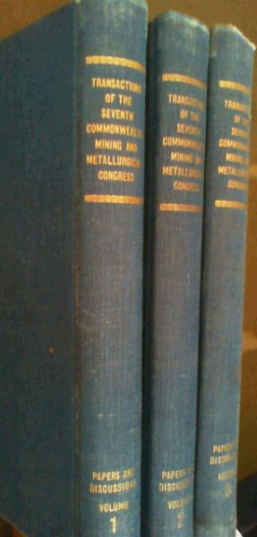 Image for Transactions of the Seventh Commonwealth Mining and Metallurgical Congress : Papers and Discussions - 3 Volumes