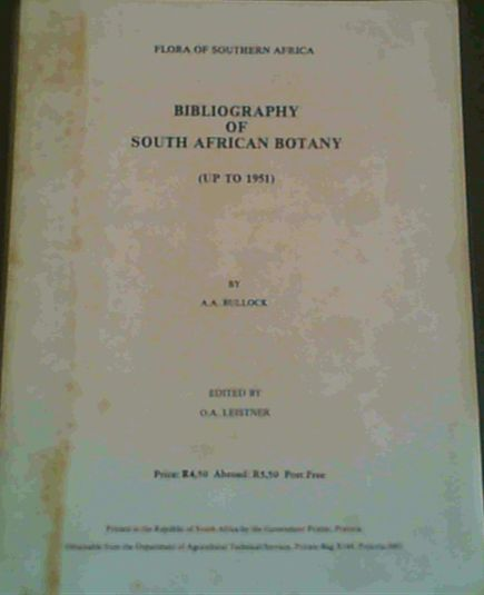 Image for Bibliography of South African botany up to 1951 (Flora of southern Africa)