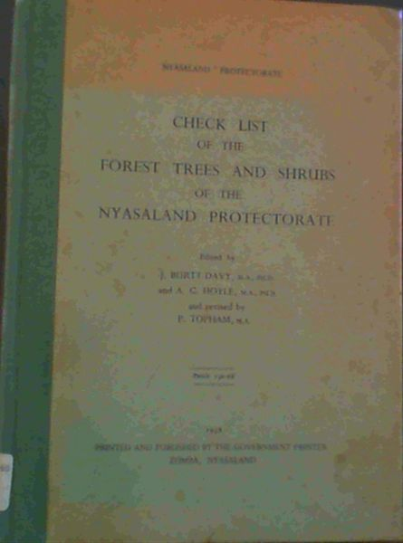 Image for Check List of the Forest Trees and Shrubs of the Nyasaland Protectorate