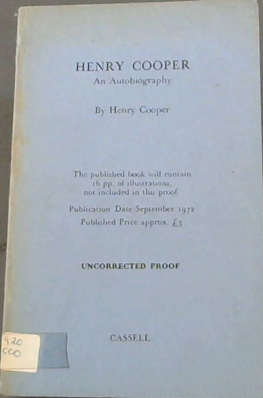 Image for Henry Cooper : An Autobiography