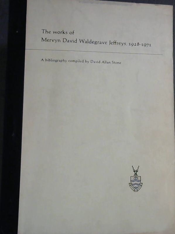 Image for The Works of Mervyn David Waldegrave Jeffreys, 1928-1971 : A Bibliography