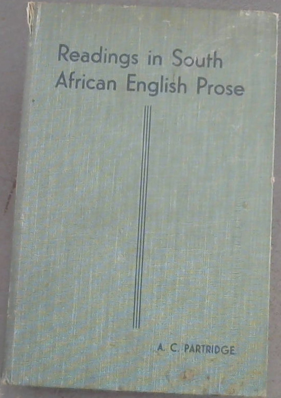 Image for Readings  in  South  African  English  Prose