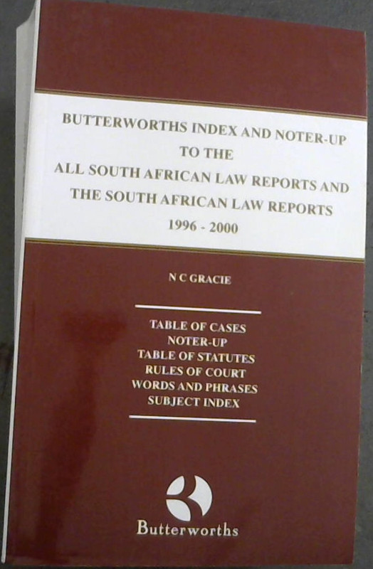 Image for Butterworths Index And Noter-Up To The All South African Law Reports And The South African Law Reports 1996-2000