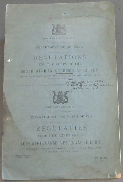 Image for Regulations for the Corps of the South African Garrison Artillery
