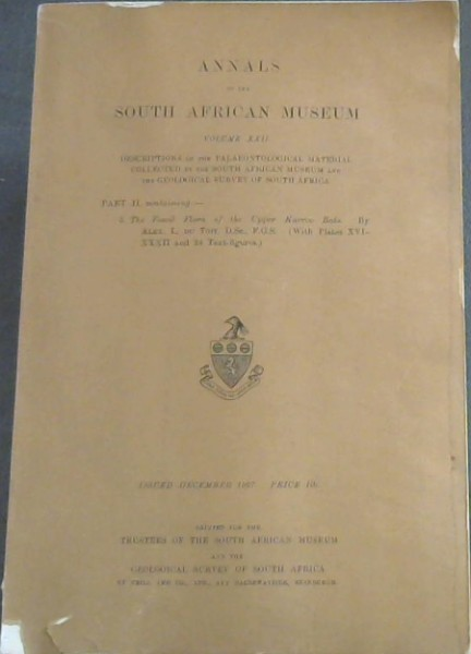 Image for Annals of the South African Museum: Descriptions of the Palaeontological Material Collected by the South African Museum and the Geological Survey of South Africa - Vol. XXII, Parts I and II