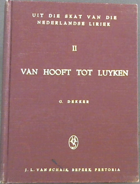 Image for Van  Hooft  Tot  Luyken  Vol. ll  Only
