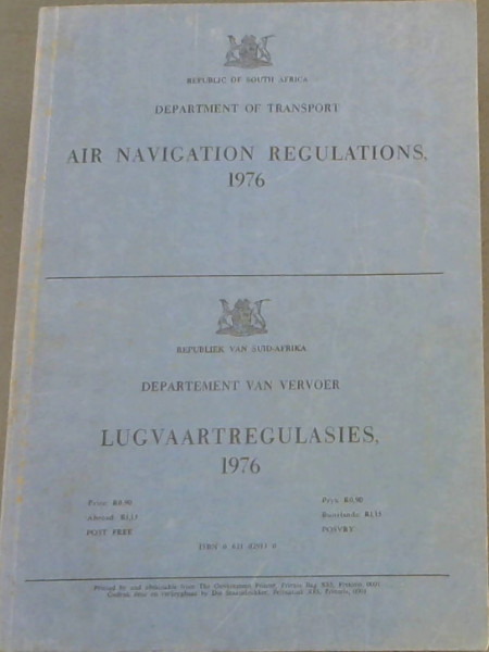 Image for Air Navigation Regulations 1976 / Lugvaartregulasies 1976
