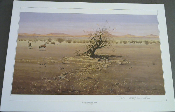 "Image for Wild Life Prints : Bert Lewington : ""Striped Blazers in Namibia"", ""Rapier Horned Desert Dweller""- Limited"