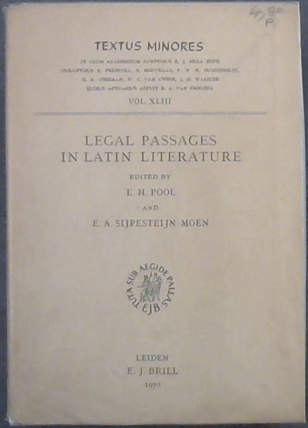 Image for Legal Passages In Latin Literature
