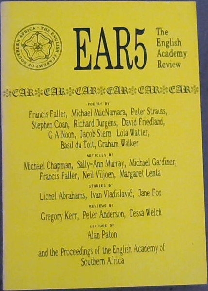 Image for EAR5 : The English Academy Review Vol  5 - 1988