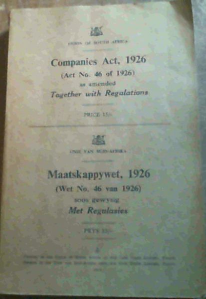 Image for Companies Act, 1926 (Act No. 46 of 1926) as amended Together with Regulations