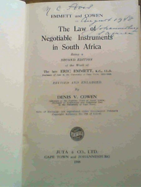 Image for The Law of Negotiable Instruments in South Africa