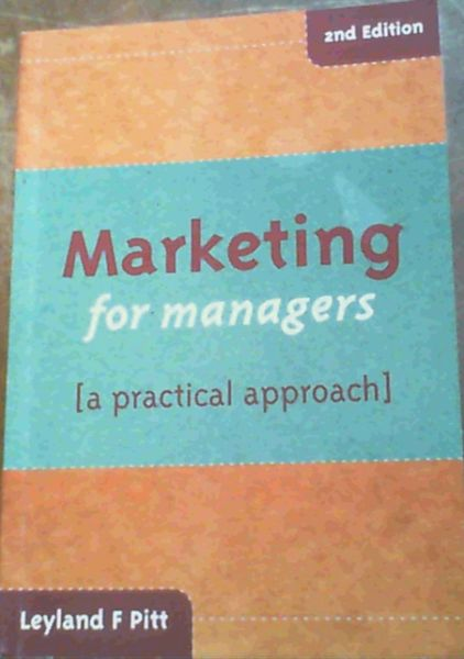 Image for Marketing for Managers : A Practical Approach