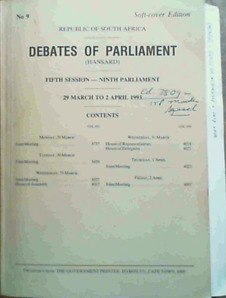 Image for Debates of Parliament - Fifth Session - Ninth Parliament - 29 March to 2 April 1993