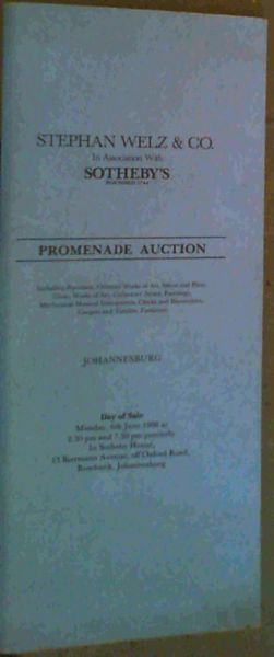 Image for Auction Catalogue: Promenade Auction - Monday, 6th June 1988, Rosebank, Johannesburg