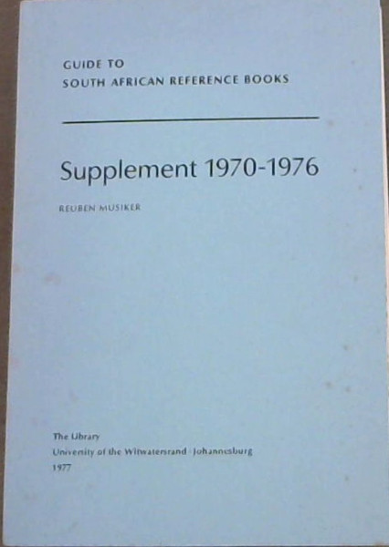 Image for Guide to South African Reference Books: Supplement 1970-1976