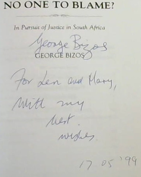 Image for No One to Blame In Pursuit of Justice In South Africa (Mayibuye History and Literature Series)