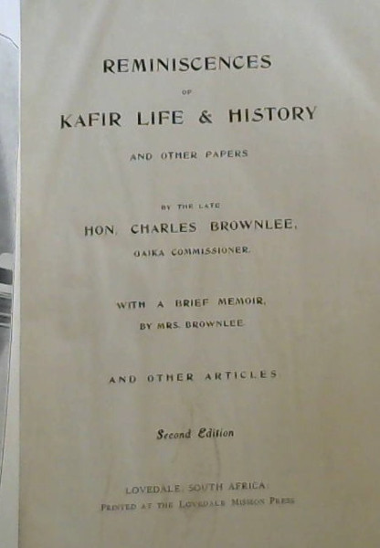 Image for Reminiscences of Kafir Life and History