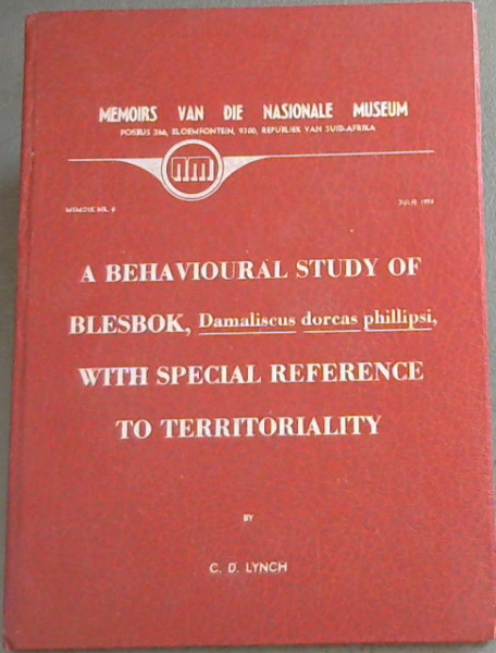 Image for A Behavioural Study of Blesbok with Special Reference to Territoriality