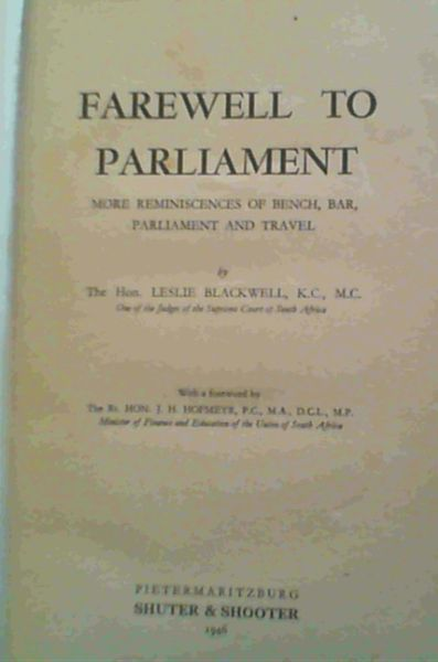 Image for Farewell to Parliament