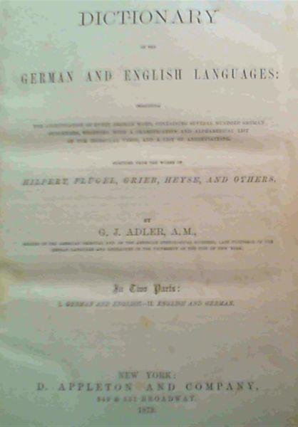 Image for A Dictionary Of The German & English Languages