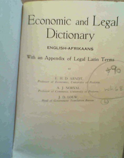 Image for Economic & Legal Dictionary English- Afrikaans