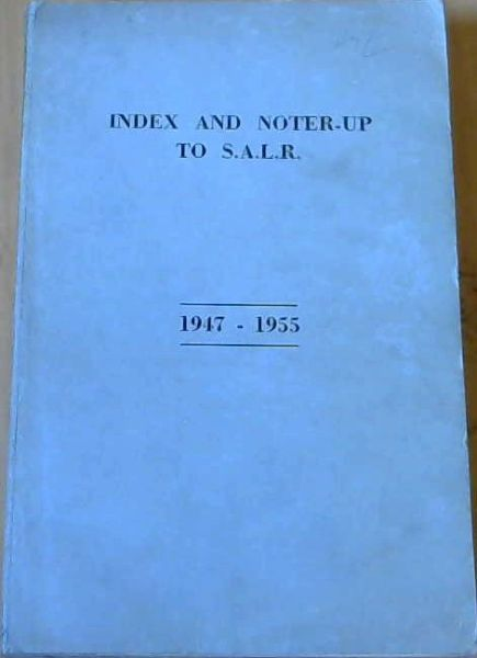 Image for Index & Noter- Up To S. A. L. R. 1947-1955